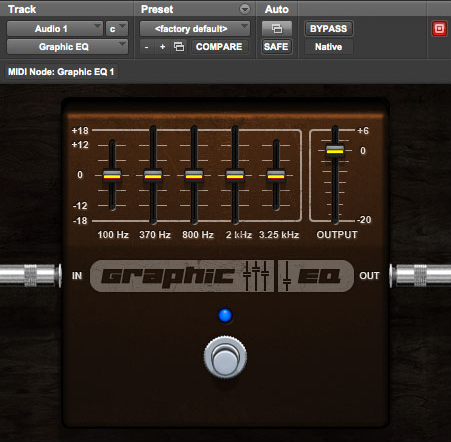 Graphic EQ 5 band EQ plugin for Pro Tools