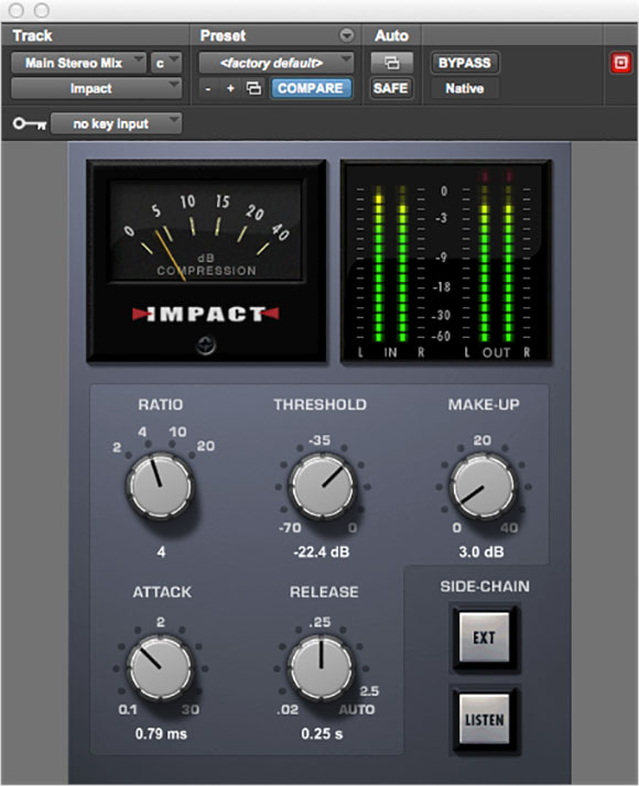 Impact mix bus compressor plugin for Pro Tools
