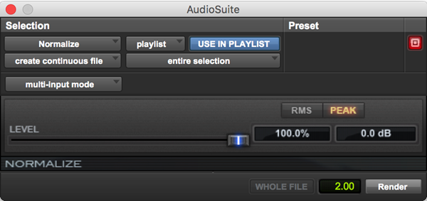 Normalize dynamics processing plugin for Pro Tools