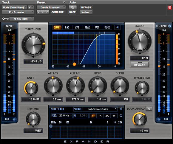 Pro Expander signal control audio plugin interface