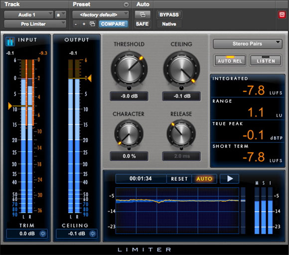 Pro Limiter distortion plugin for Pro Tools