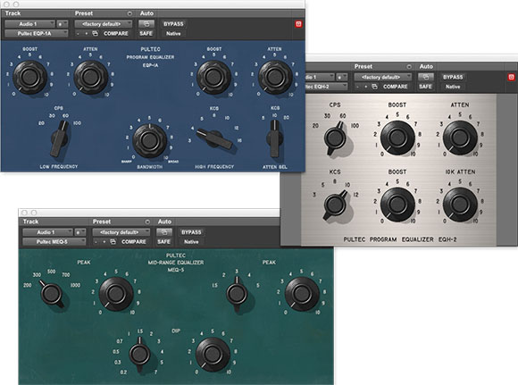 Interfaces of the Pultec EQ audio plugin bundle