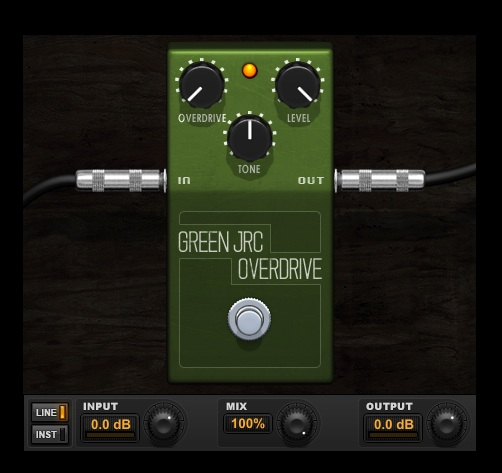Green JRC Overdrive Ibanez TS808 tube screamer plugin for Pro Tools