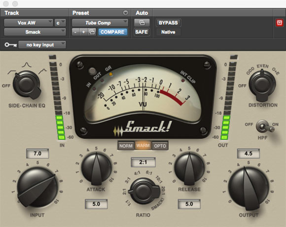 Smack compressor and limiter audio plugin for Pro Tools