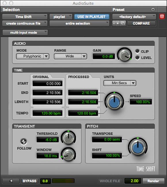 Pro Tools Time Shift audio plugin