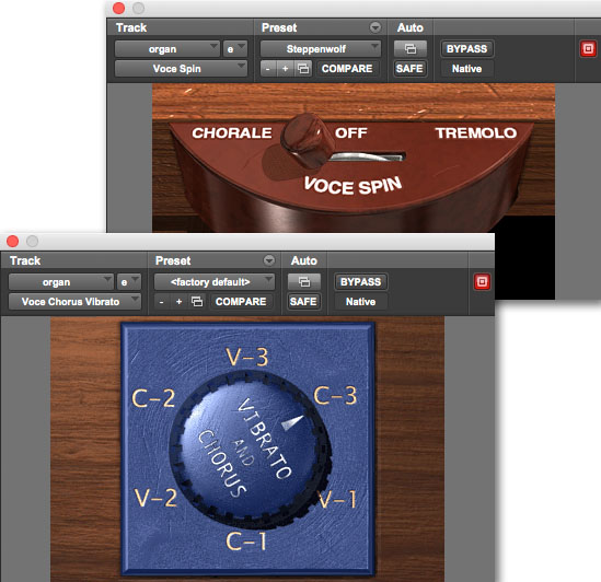 Voce Bundle interface for rotating speaker and B3 organ audio plugins