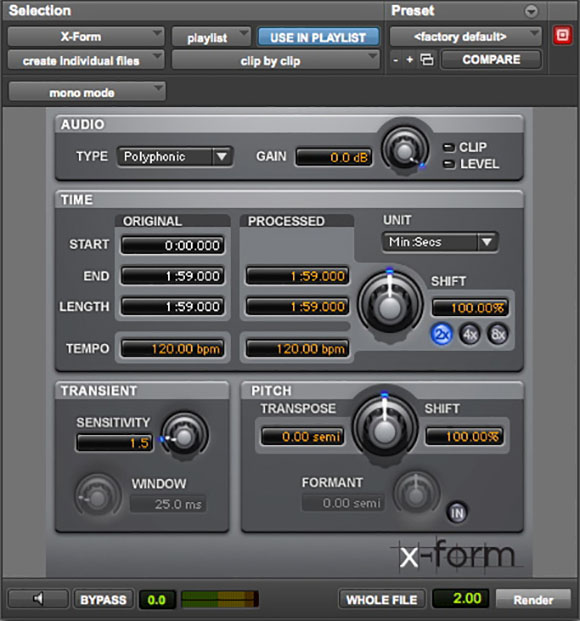 X Form Pro Tools audio plugin