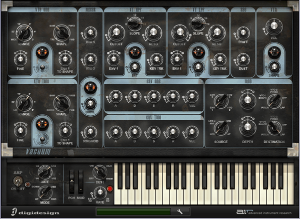 AIR Vacuum analog tube synthesizer audio plugin for Pro Tools