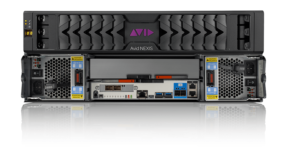 Avid NEXIS Pro shared media storage hardware front and rear stacked