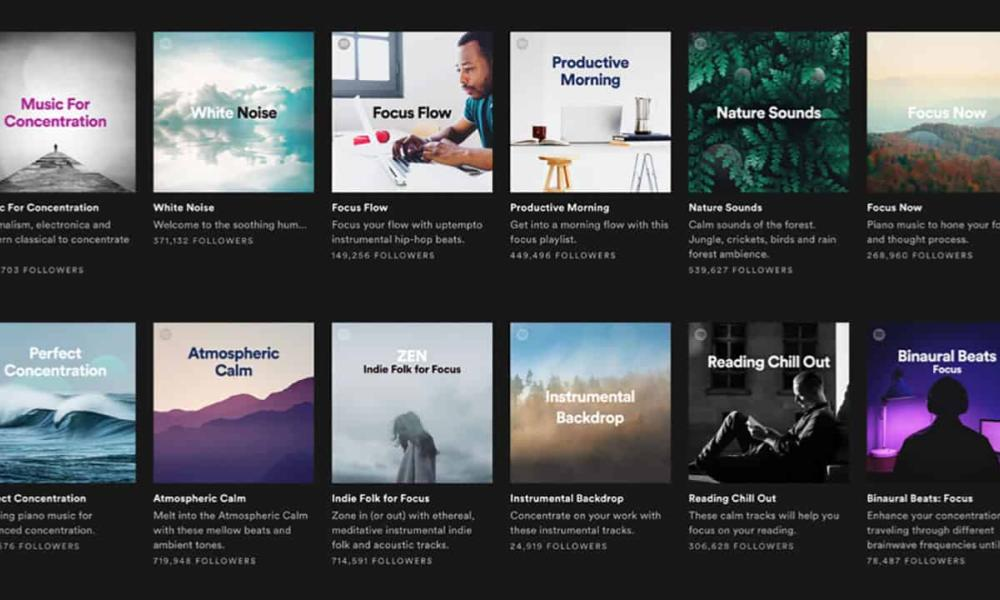 12 different playlists for relaxation and focus with cover art