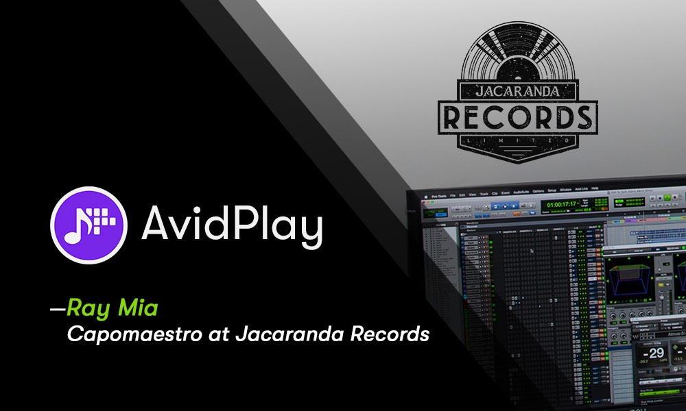 AvidPlay logo and Jacaranda Records logo with computer screen showing audio editing controls