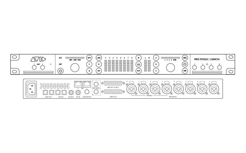 Front and back drawing of Pro Tools | Carbon audio interface