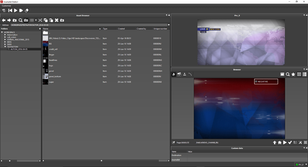 Asset browser live graphics Journalist Station