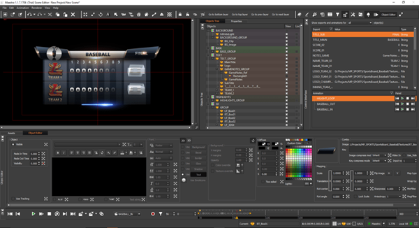 SceneEdit creation tool for live graphics in playout