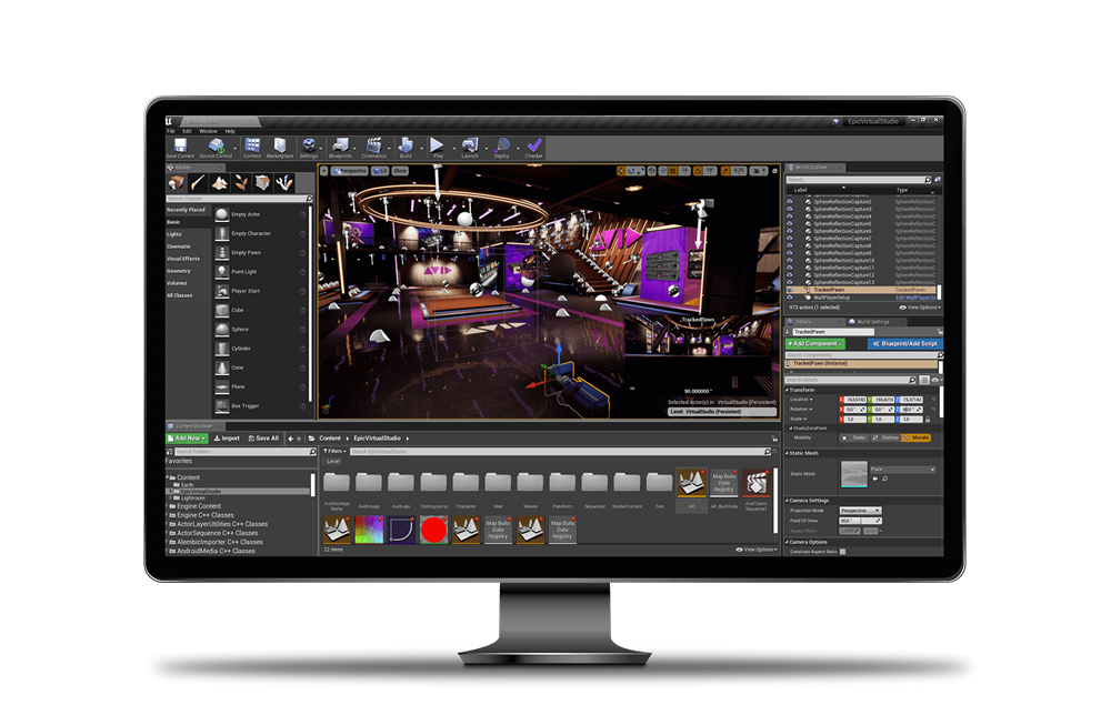 Interface of Maestro Virtual Set creating Avid studio