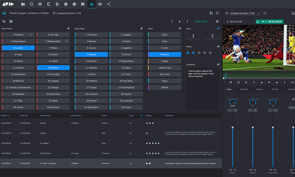 Editorial Management logging interface showing customized panes to log sports teams, players, and actions