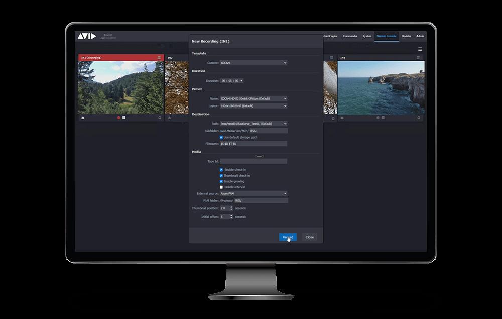MediaCentral-Stream GUI