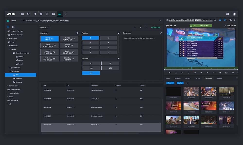 Custom logging templates on MediaCentral for live game feeds and recorded content