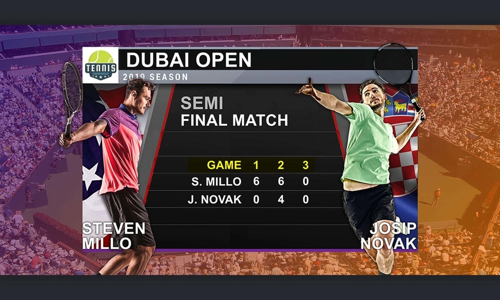 Sports coverage graphic showing stats of 2019 Dubai Open semi final between Steven Millo and Josip Novak