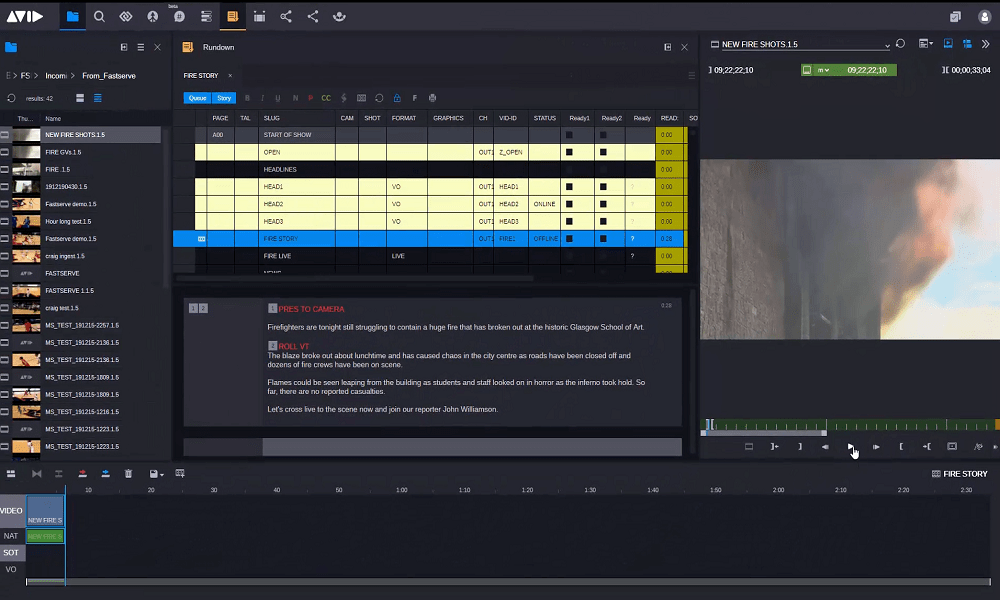 MediaCentral interface with media pool, project timeline and preview of video showing a burning building