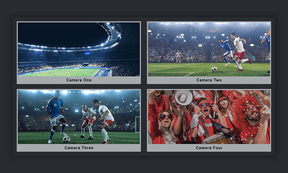 Four images of the same soccer game showing the stadium, players and audience highlighting how to work with multi camera angles on MediaCentral