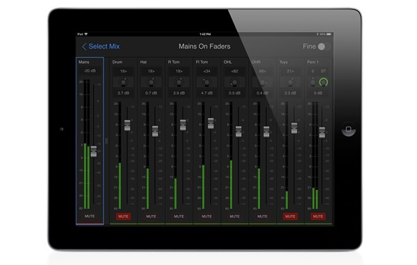 Main faders within Avid VENUE Onstage personal monitor mixer application