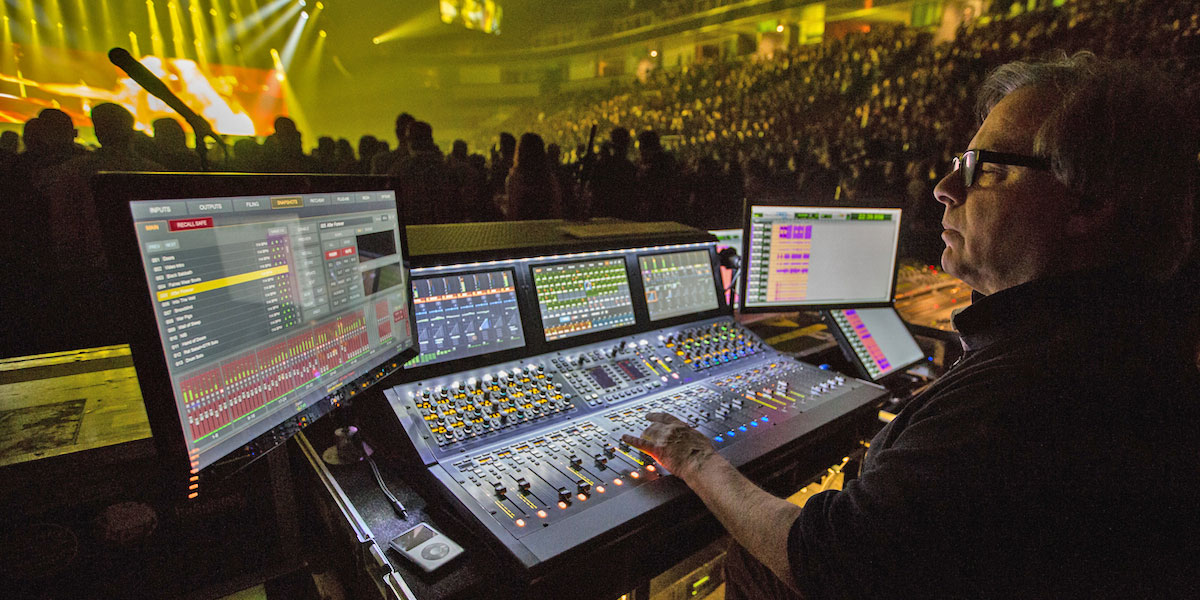 Avid VENUE S6L digital mixer in use at a Black Sabbath concert