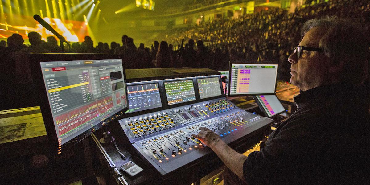 Avid VENUE S6L digital mixer in use at a Black Sabbath concert