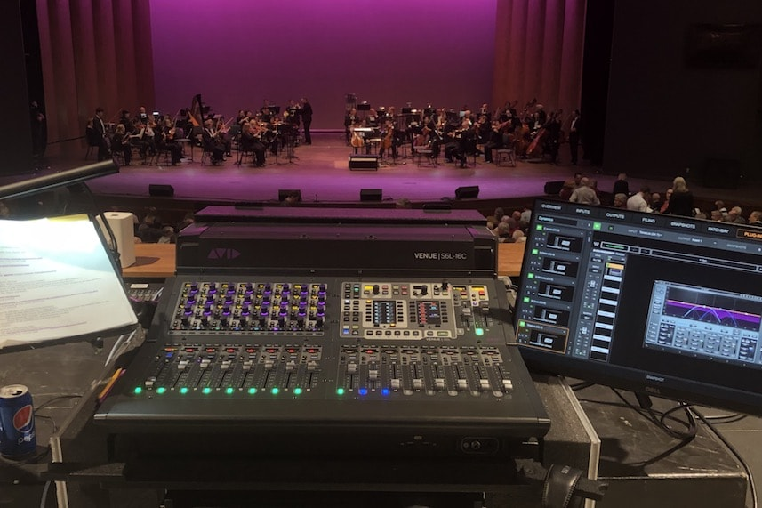 Compact VENUE mixer console in use on My Fair Lady production