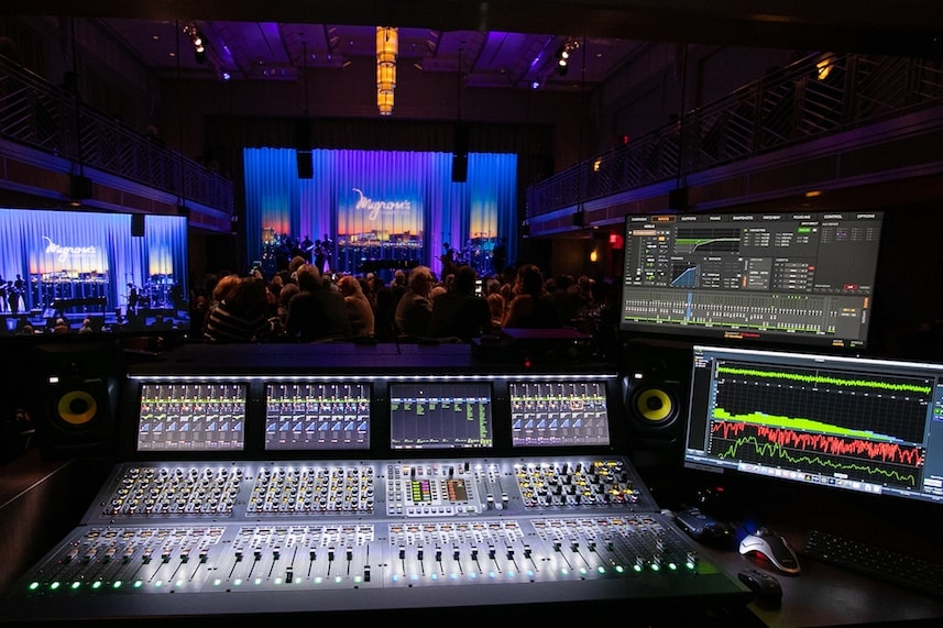 Avid VENUE S6L live sound mixer console in use on Myron's Cabaret Jazz