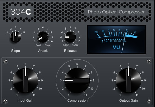 Interface of the 304C photo optical compressor plugin