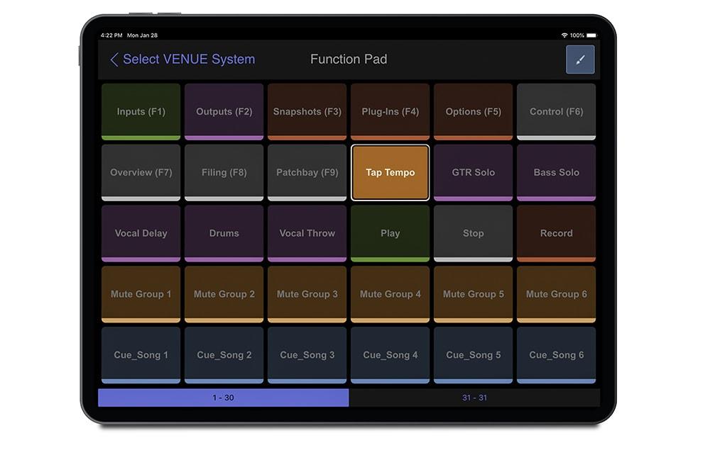 Avid VENUE app on iPad
