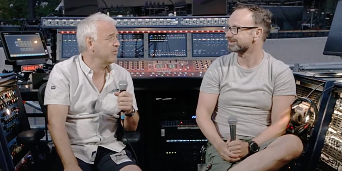 Marc Carolan discussing mixing FOH for Muse with Robb Allan at a gig in the Netherlands