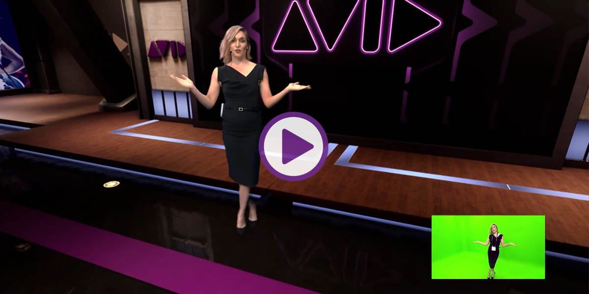 Female broadcaster in virtual studio environment