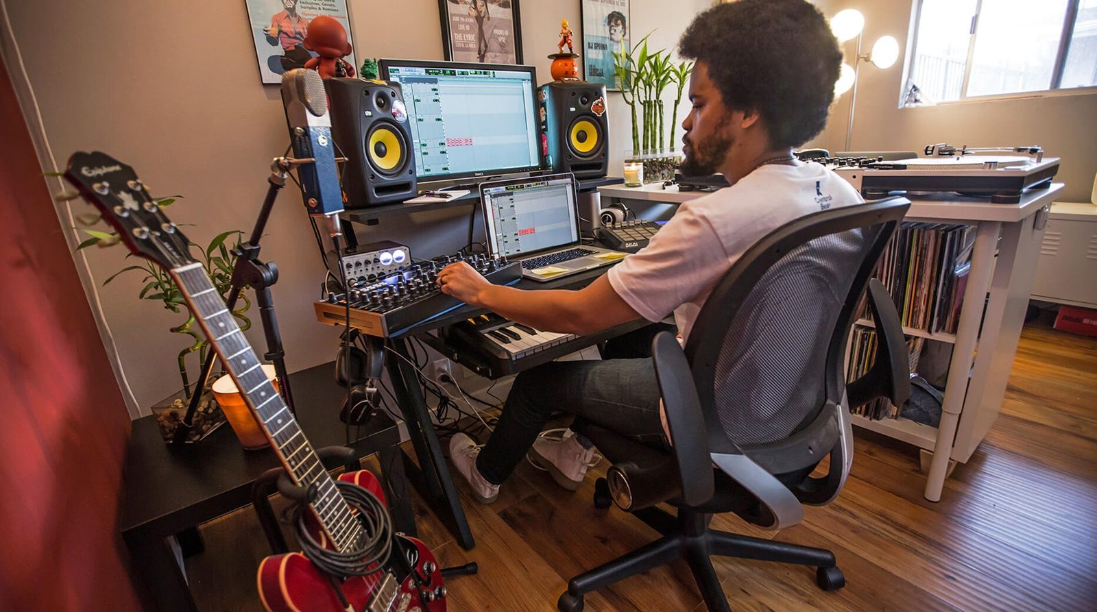 Ace Scott recording at home