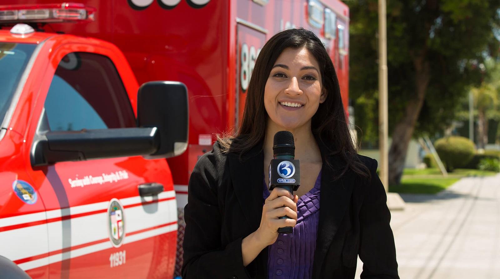 broadcast journalist in the field
