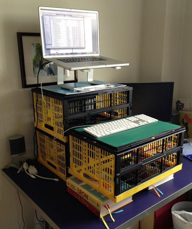 homemade standing desk for video editing
