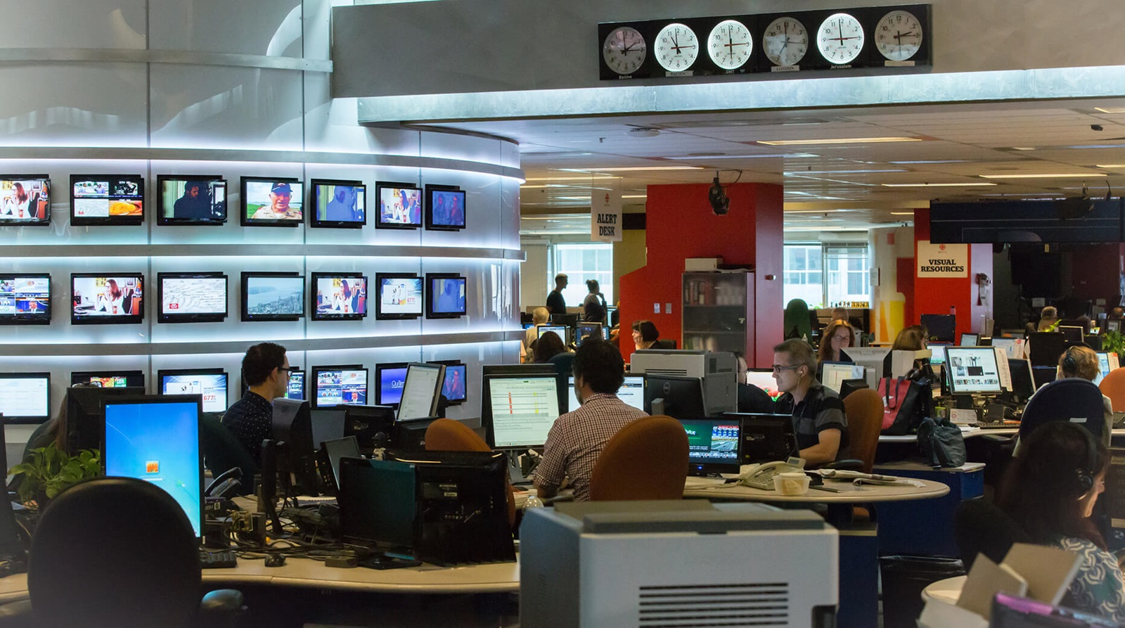 Inside a broadcast newsroom