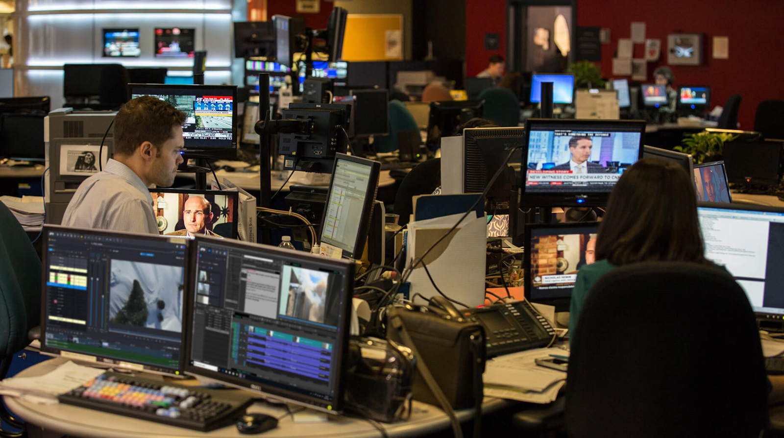 broadcast newsroom with multiple NLEs