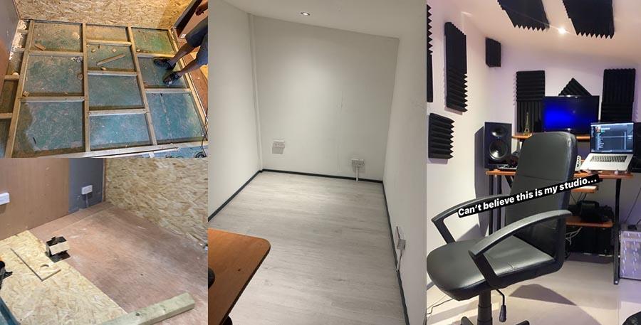 progress shots of building a home music studio