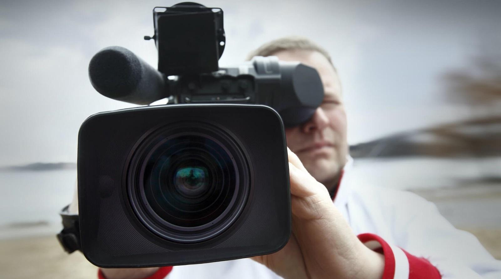closeup of camera operator
