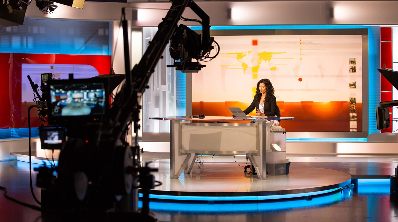 view from behind the camera in news studio