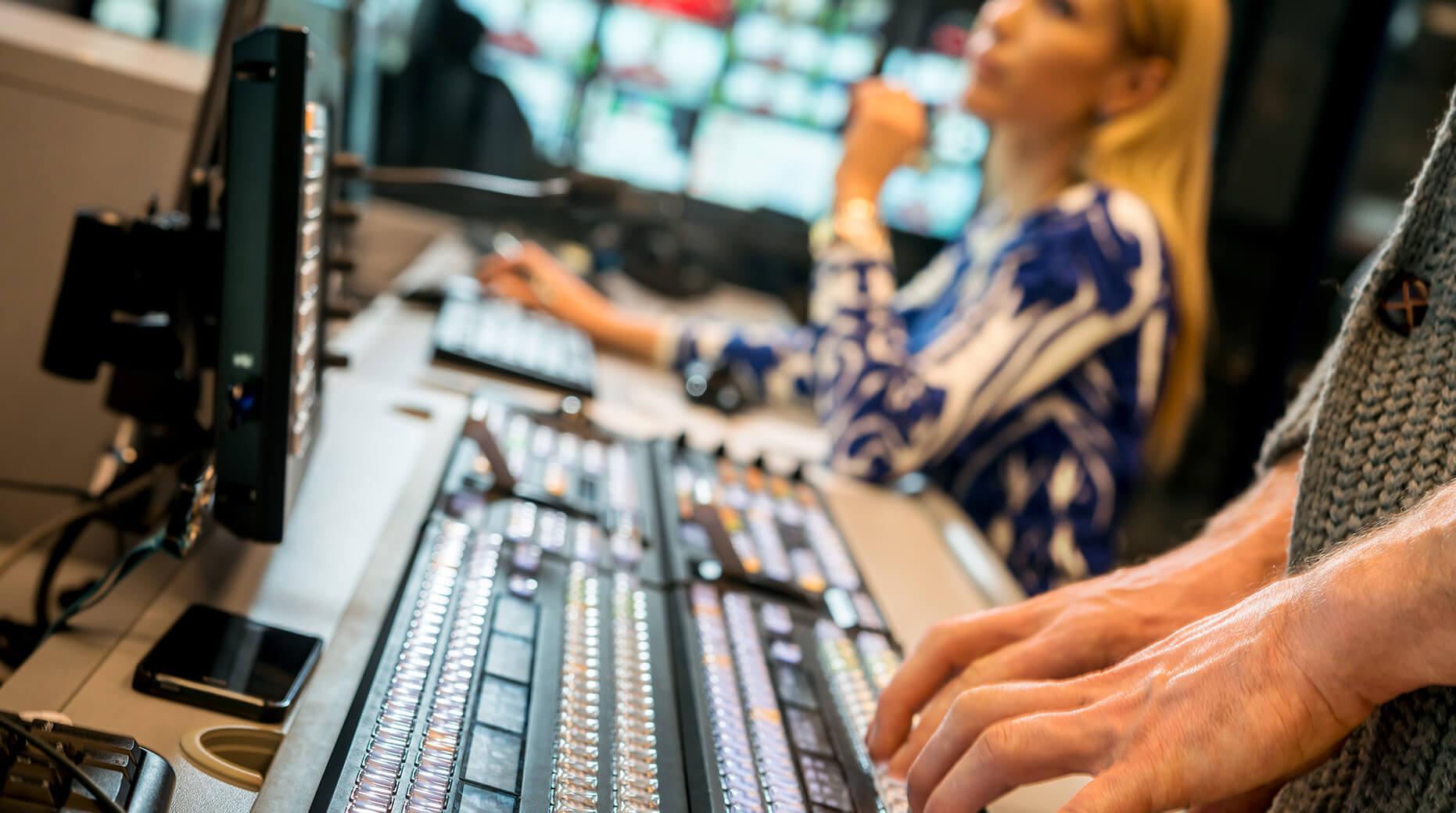 inside a TV news control room
