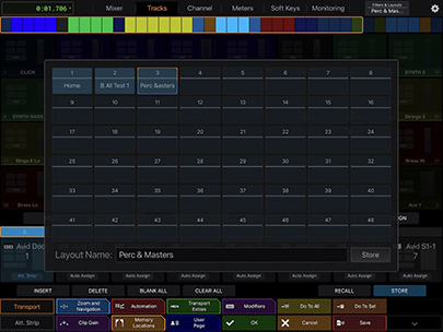 screenshot of layout assign in Avid Control