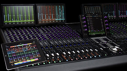 wide shot of Avid S6 control surface