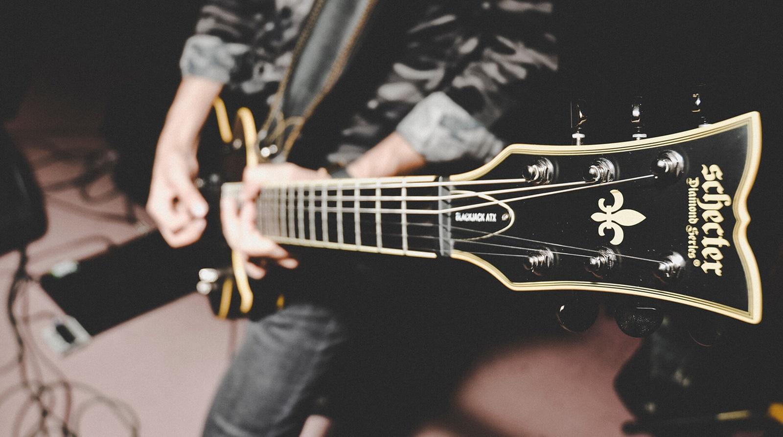 closeup of neck of guitar