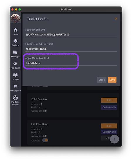 enter Apple artist ID in AvidPlay