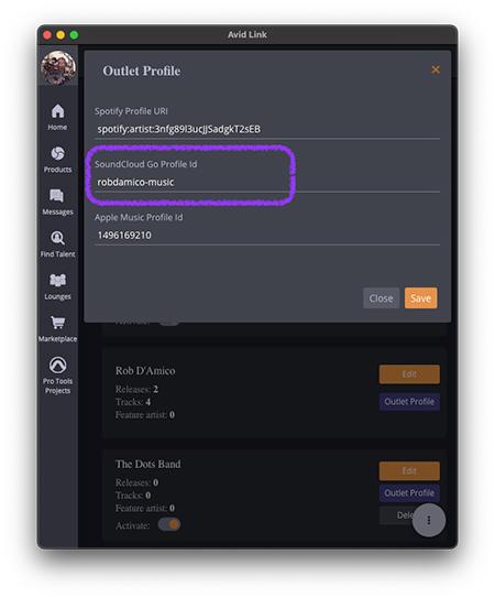 enter SoundCloud ID in AvidPlay