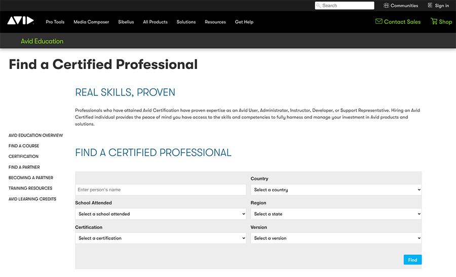 screenshot of Find a Certified Professional page