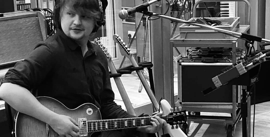 Adam Davies from Tiffany Twisted recording guitar at Abbey Road Studios